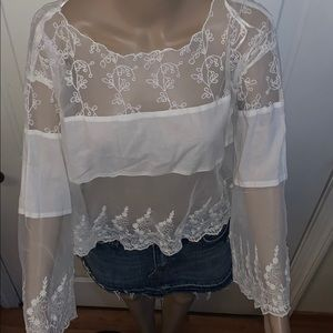 Free People Ivory Lace Embroidered blouse SZ: XS